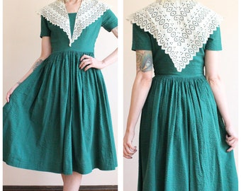 1940s Dress // Seersucker Emerald Summer Dress // vintage 40s dress