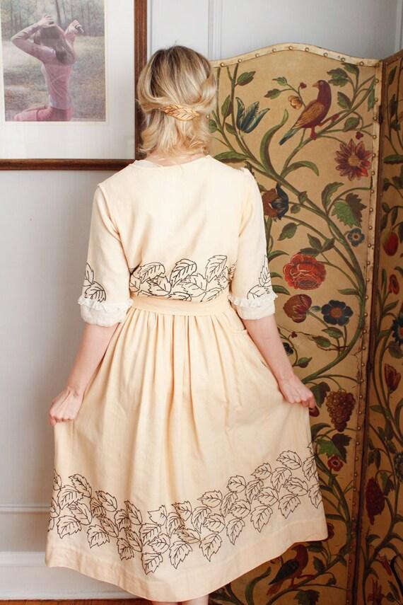 1910s Dress // Edwardian Embroidered Leaf Dress /… - image 8
