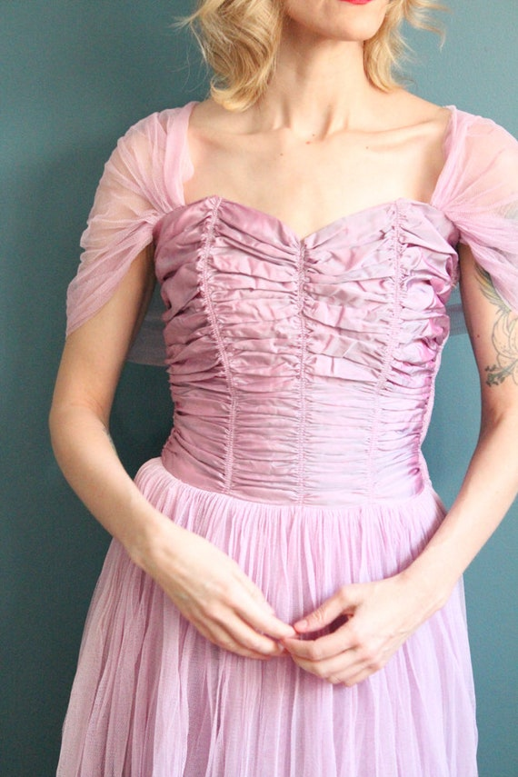 Late 1940s Gown // Debutante Tulle Gown // Vintag… - image 3