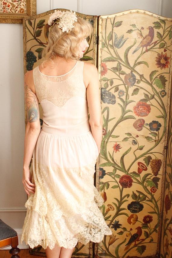 1920s Dress // Chiffon and Lace Wedding Dress // … - image 4