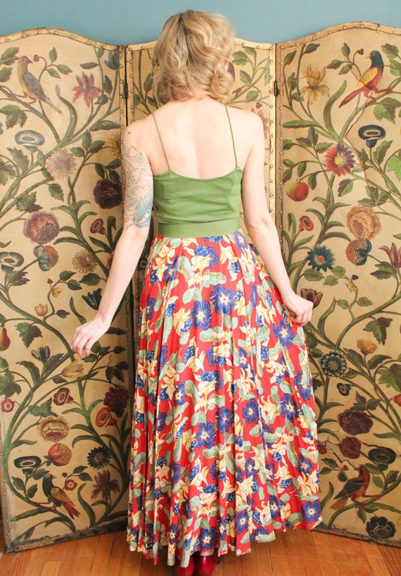 1940s Dress // Tropical Floral Cold Rayon Gown & … - image 8