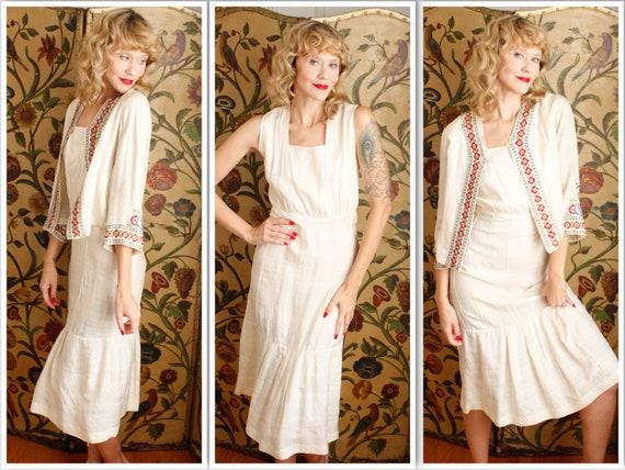 1930s Dress // Silk Embroidered Folk Dress & Jacke