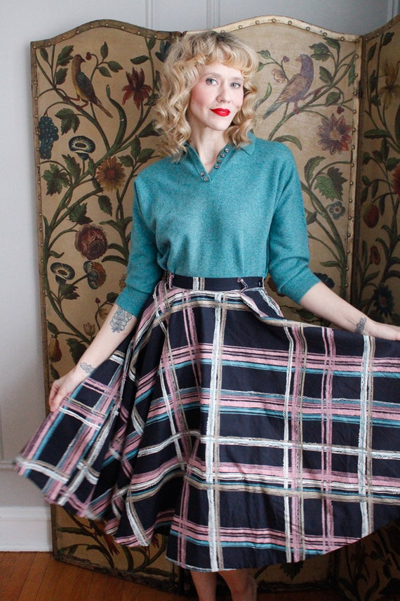 1950s Skirt // Large Plaid Swing Skirt // vintage… - image 2