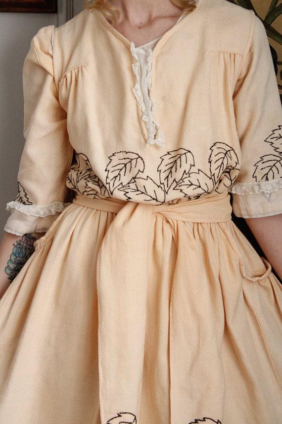1910s Dress // Edwardian Embroidered Leaf Dress /… - image 3