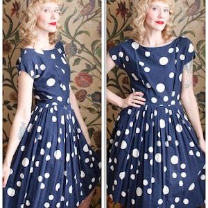 Blue Seashell Dress Vintage Grandma Dress