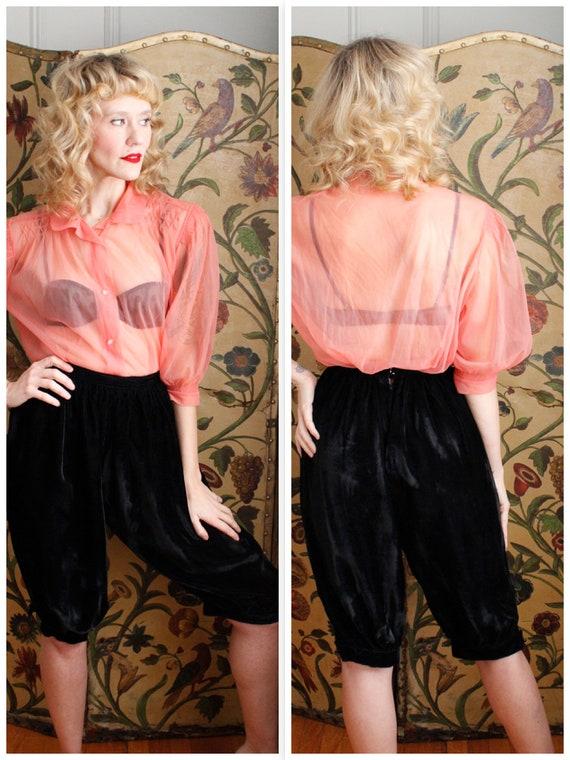 Late 1950s Pants // Velvet Black Harem Style Cropp