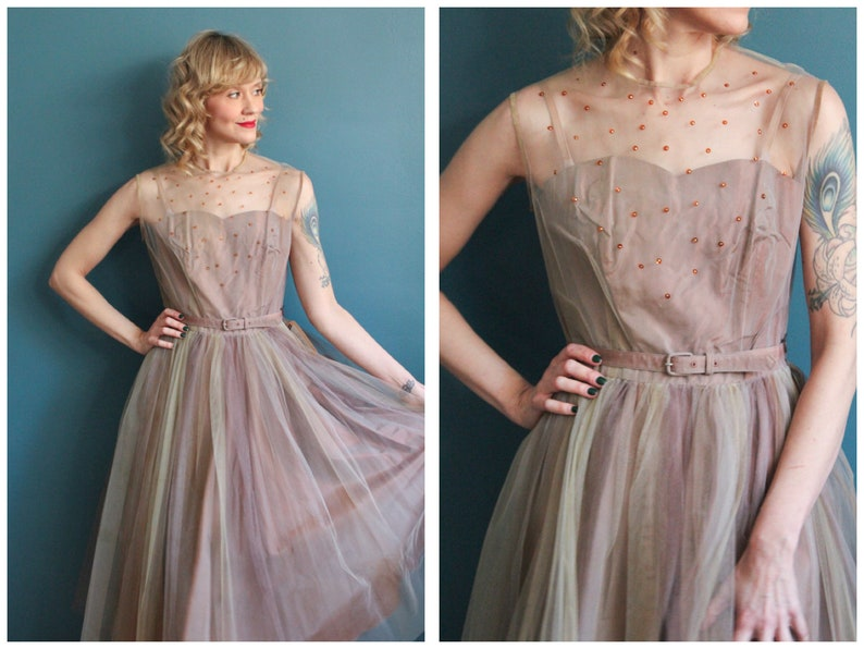 1950s Dress // NOS Tulle & Beaded Party Dress // vintage 50s image 0