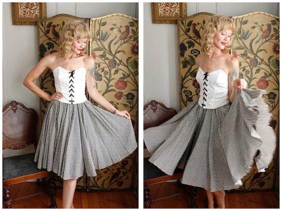 1950s Skirt // Checker Full Sweep Circle Skirt //