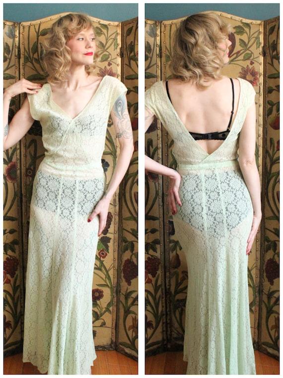 1930s Gown // Celadon Lace Gown // vintage 30s bia