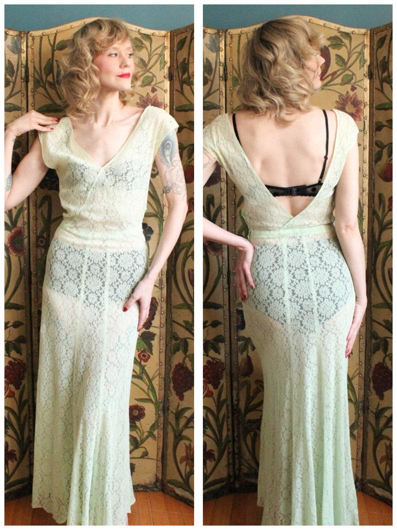 1930s Gown // Celadon Lace Gown // vintage 30s bias cut gown image 0