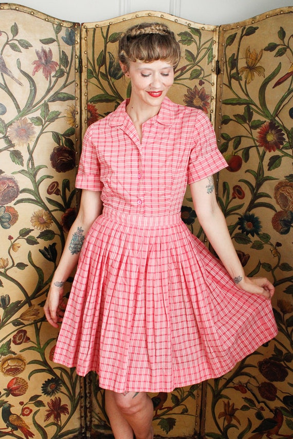 1950s Dress Set // Pink Plaid Cotton Shirt & Skir… - image 2