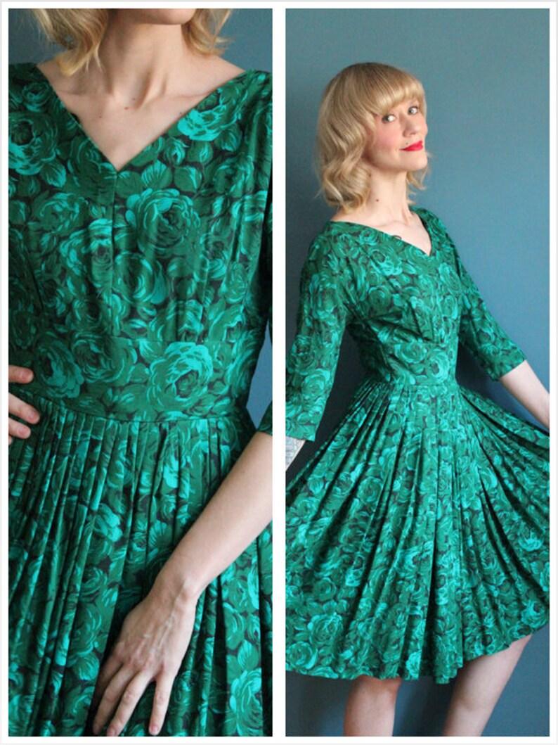 1950s Dress // Cabbage Rose Dress // vintage 50s dress image 0