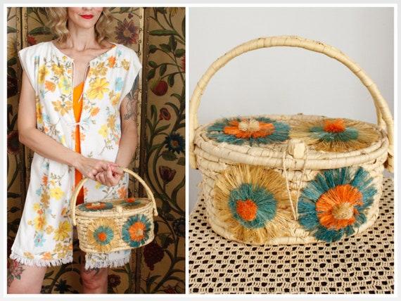 1960s Straw Bag // Floral Summer Straw Bag // vint