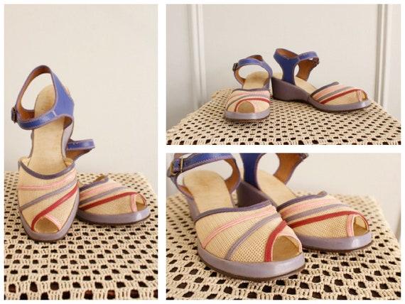 1940s Wedges // Summer Woven Sandals // vintage 4… - image 1