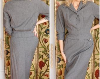 1950s Suit // Bramson Grey Wool 2pc Suit // vintage 50s suit