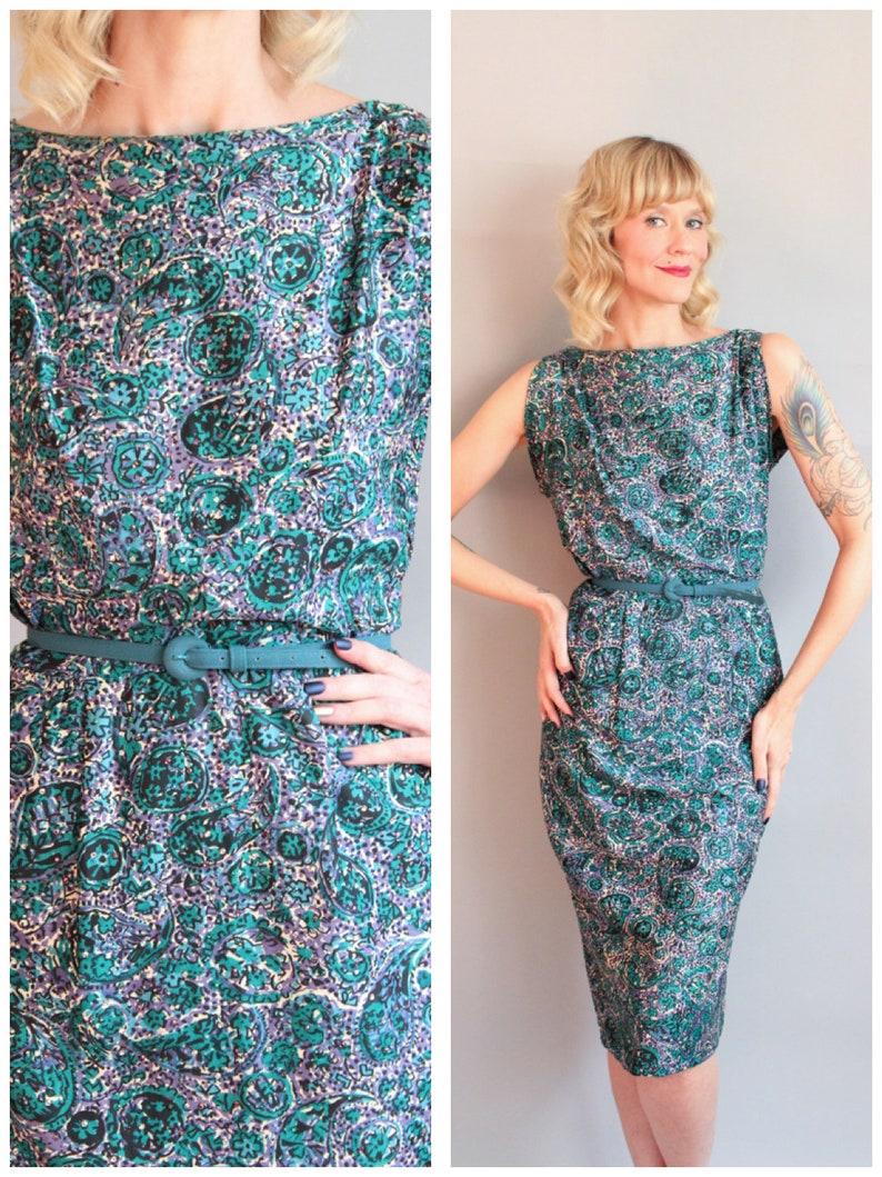1950s Dress // Rhinestone Paisley Sheath Dress // vintage 50s image 0