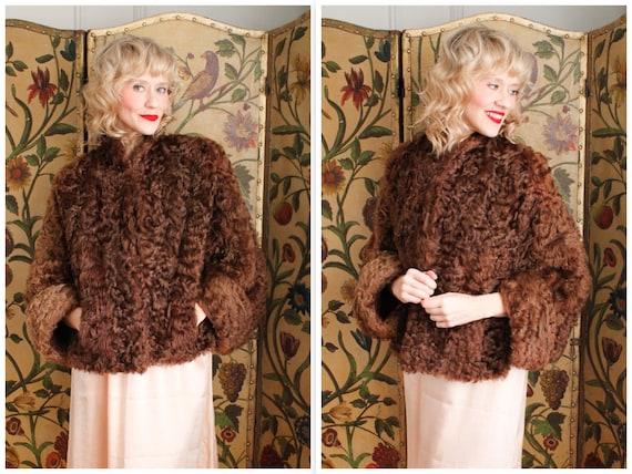 1940s Fur Cape // Coquettish Curly Lamb Cape Jacke