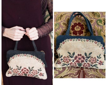 1930s Handbag // Floral Wool Tapestry Purse // vintage 30s purse