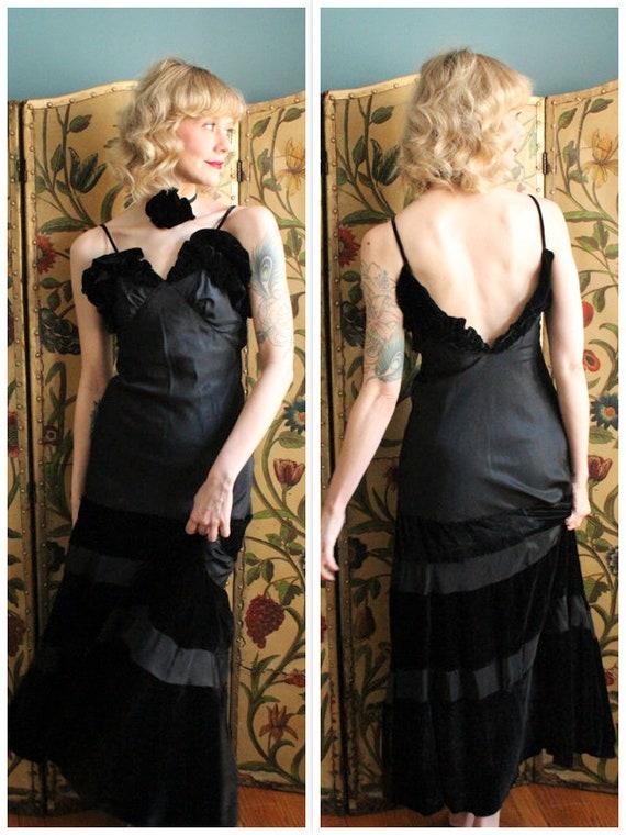 1930s Gown // Grand Hotel Velvet & Taffeta Gown //