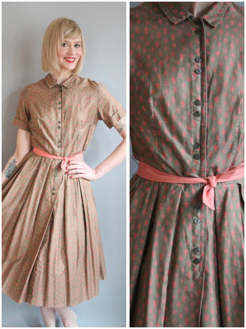 1950s Dress // Fleur De Lis Dress // vintage 50s dress image 0