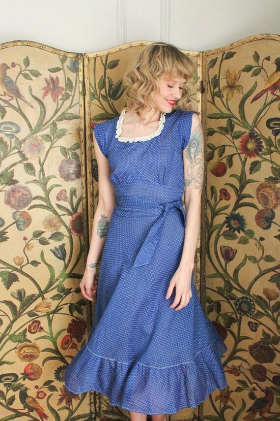 1930s Dress // Swiss Dot Cerulean Cotton Dress //… - image 2