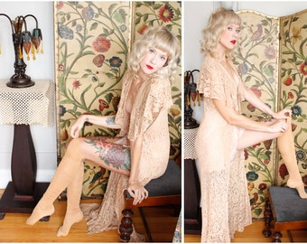 1930s Lace Coverup // Nude Lace Overlay Coverup // vintage 30s lace jacket