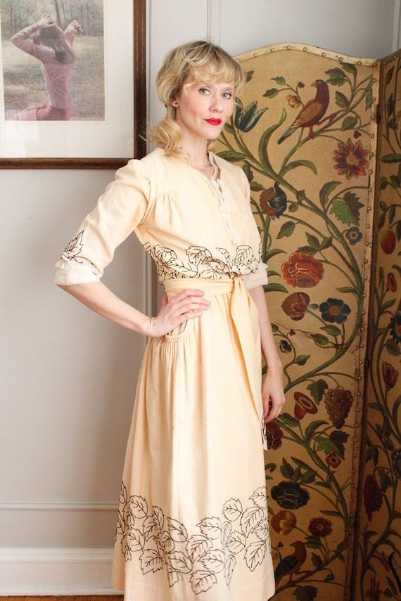 1910s Dress // Edwardian Embroidered Leaf Dress /… - image 5
