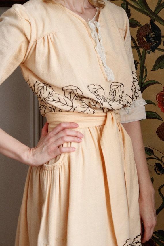 1910s Dress // Edwardian Embroidered Leaf Dress /… - image 6