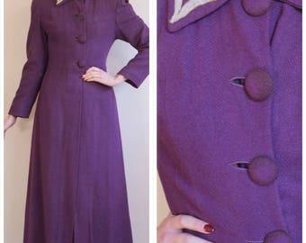 1940s Coat // Opulent Wool Princess Coat // vintage 40s coat