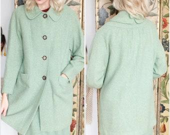 1960s Suit // Mint Green Wool 2pc Jacket & Skirt Suit // vintage 60s suit