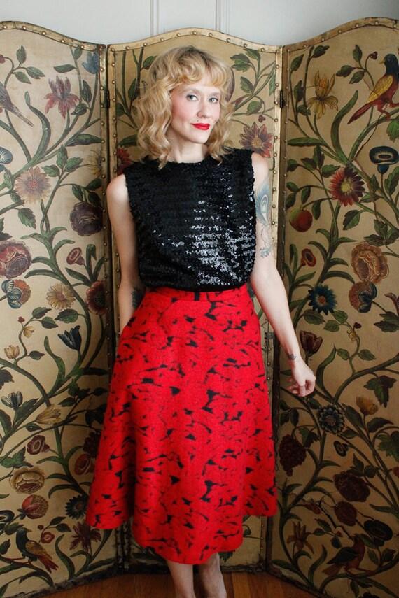 1990s Skirt // Rose Garden Wool Skirt // vintage … - image 8