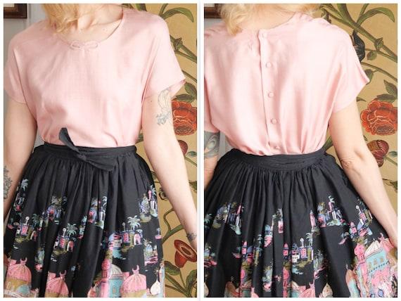 1950s Blouse // Best & Co Pink Silk Blouse // vin… - image 1