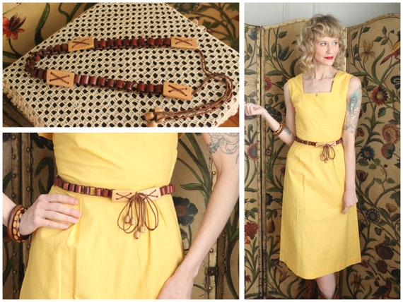 1940s Belt // Wooden Drawstring Belt // vintage 40