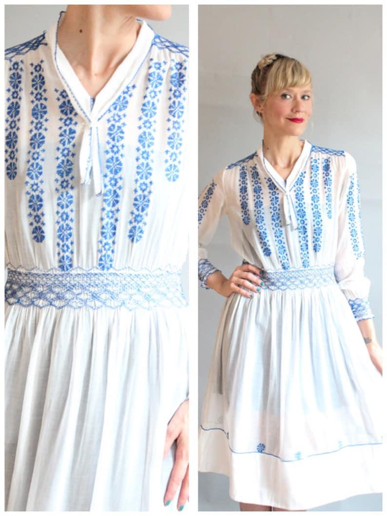 1930s Dress // RARE Hungarian Embroidered Cotton Gauze Dress image 0