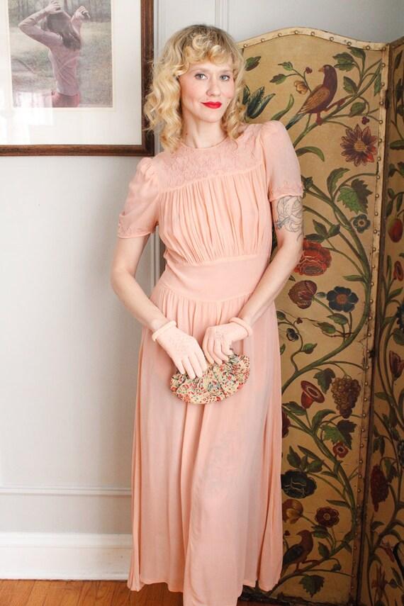 1940s Gloves // Pink Cotton Knit Gloves // vintag… - image 6
