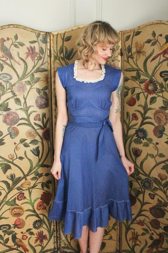 1930s Dress // Swiss Dot Cerulean Cotton Dress //… - image 4
