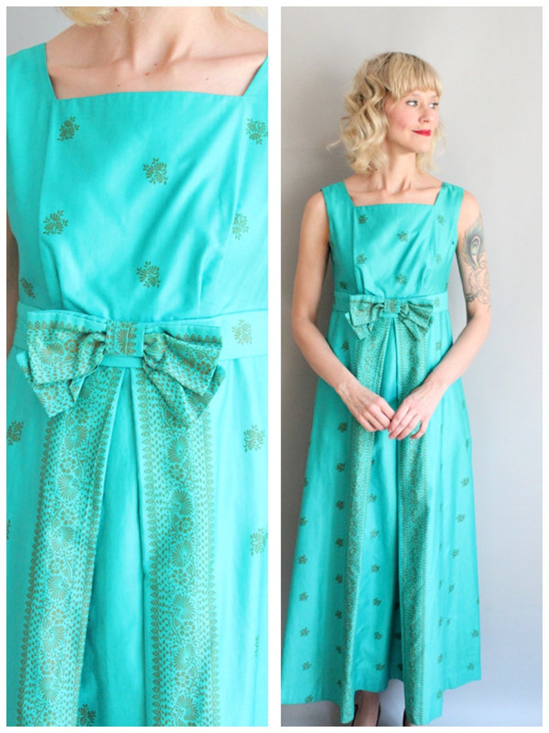 1960s Gown // Malihini Tiki Gown // vintage 60s Hawaiian Dress image 0