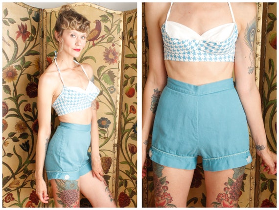 1950s Shorts // Turquoise Queen Twill Shorts // vi