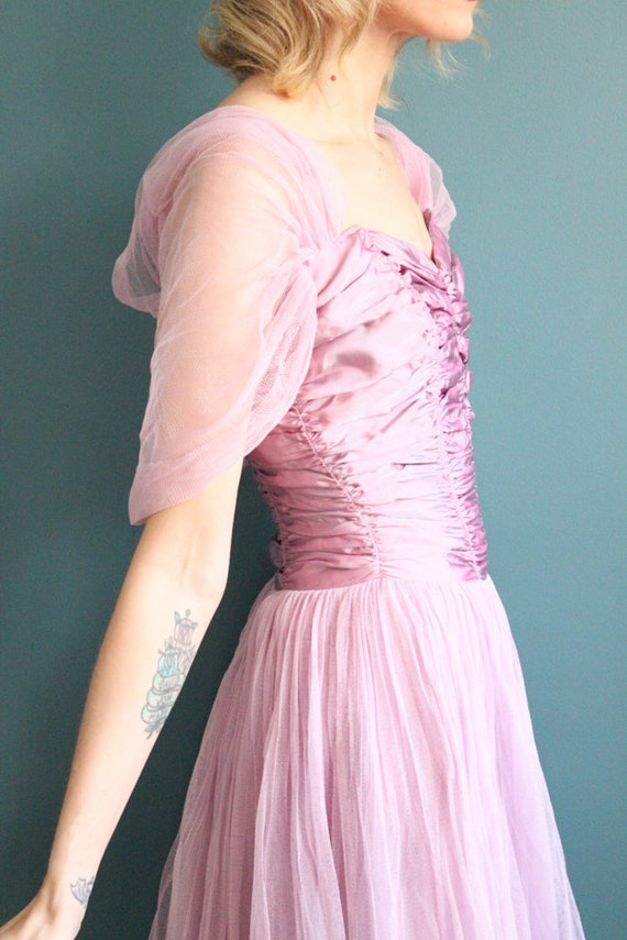 Late 1940s Gown // Debutante Tulle Gown // Vintag… - image 6