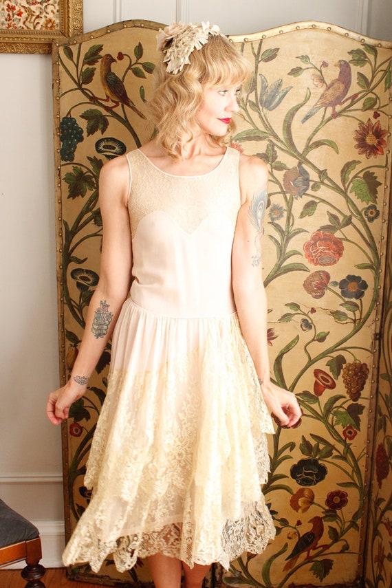 1920s Dress // Chiffon and Lace Wedding Dress // … - image 3