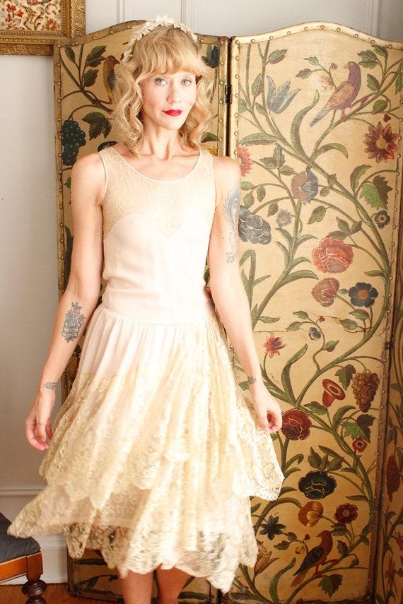 1920s Dress // Chiffon and Lace Wedding Dress // … - image 9