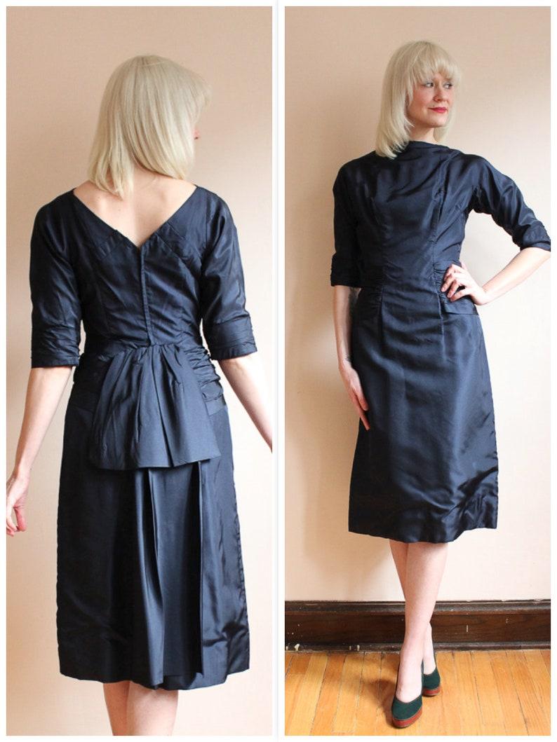 1950s Dress // Midnight Blue RAPPI Silk Cocktail Dress // image 0