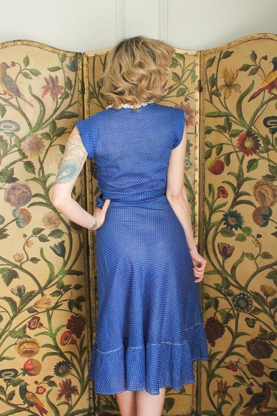 1930s Dress // Swiss Dot Cerulean Cotton Dress //… - image 8