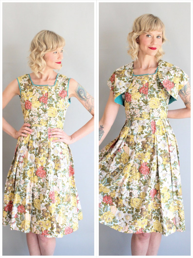 1950s Dress // Joan Hurley Petites Floral Dress // vintage 50s image 0