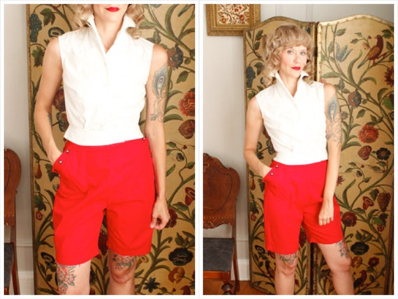 1950s Shorts // Sally Togs Cotton Shorts // vintag