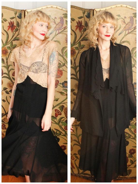 1920s Dress Set // The Long Night Silk & Lace Dres
