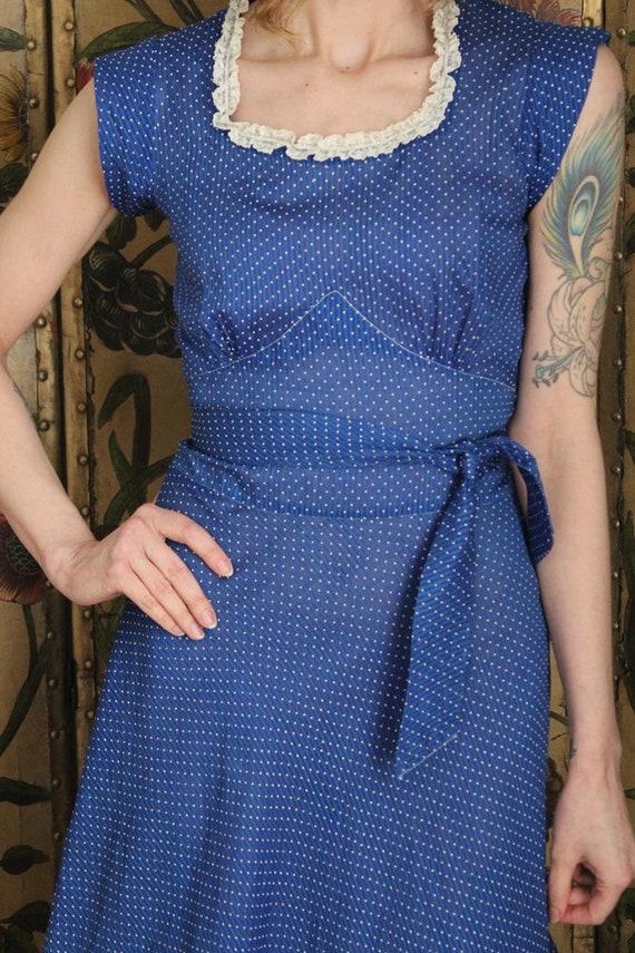 1930s Dress // Swiss Dot Cerulean Cotton Dress //… - image 3