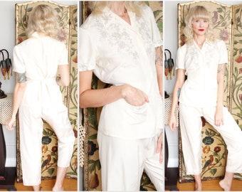1940s Lounge Set // Silk Embroidered Ivory Loungewear Pajama Set // vintage 40s lounge pants and blouse