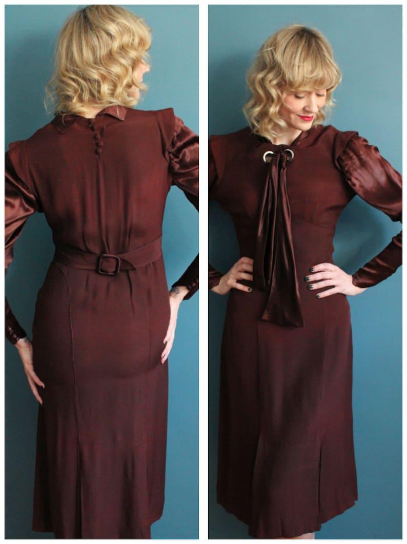 1930s dress // Dark Sienna Rayon & Silk Satin Dress // vintage image 0