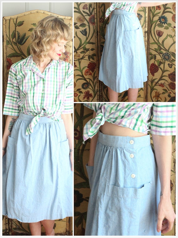 1980s does 1940s Skirt // Summer Chambray Skirt //